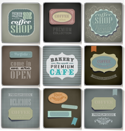 Retro bakery labels and typography/ old paper/ coffee shop, cafe, menu design elements, calligraphic/ vector set Stock Vector - 23641118