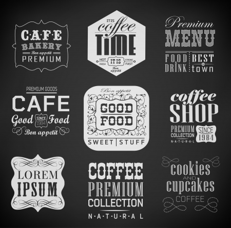 Retro bakery label, coffee shop, cafe, menu design elements, chalk calligraphic drawing with chalk on blackboard Vector