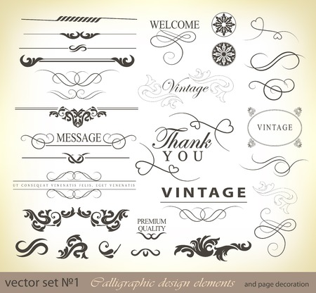 ベクトルは、書道のデザイン要素やページの装飾 - あなたのレイアウトを装飾するために有用な要素の多くを設定