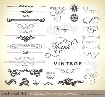 vector set kalligrafische ontwerpelementen en pagina decoratie - veel nuttige elementen voor het verfraaien van uw lay-out