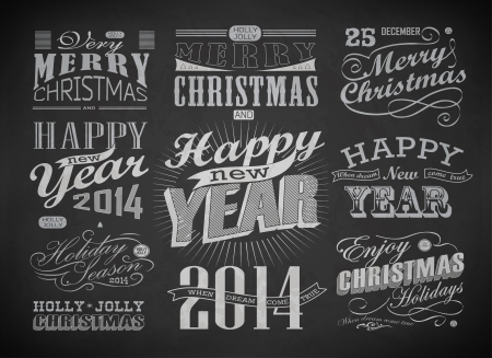 Christmas and Happy New Year typography, labels,calligraphic elements  Christmas decoration drawing with chalk on blackboard Vector