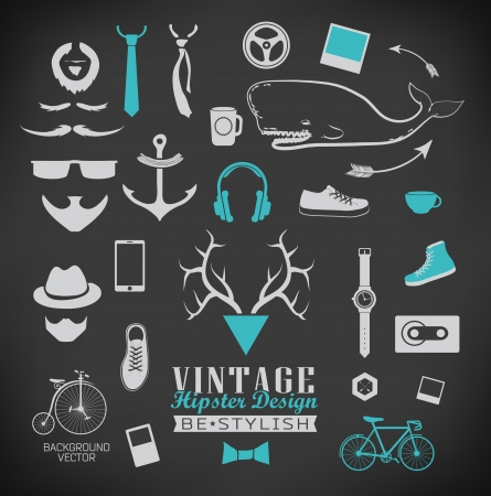 Set of hipster vintage retro chalk label and icon  Set of hipster vintage retro sign Vector