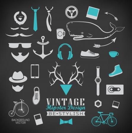 Set of hipster vintage retro chalk label and icon  Set of hipster vintage retro sign Stock Vector - 23636754