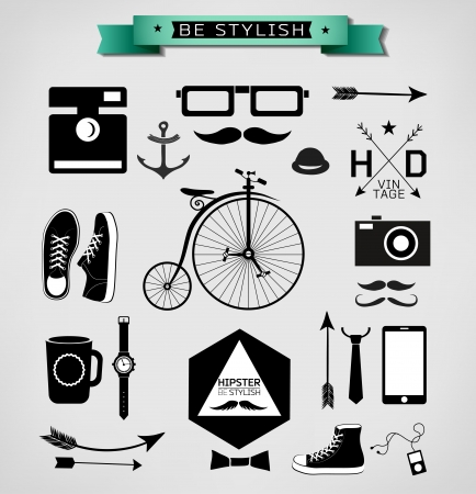 Hipster style info graphic element and icon  Vector illustration Vector