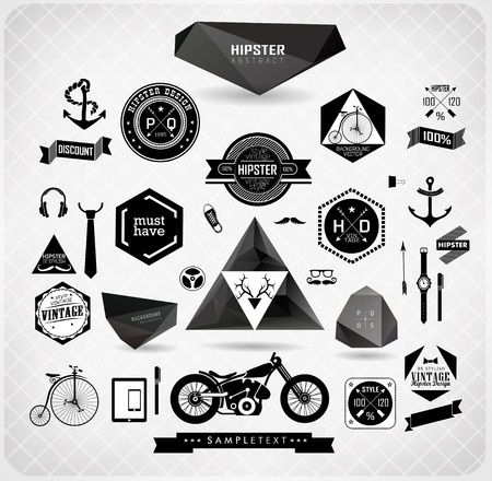 Set of hipster modern black label and icon  vector set Vector