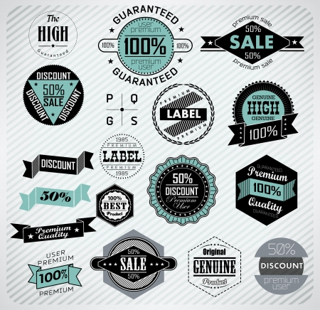 record shop: Premium Quality, Guarantee and sale Labels  typography design  Vintage labels collection