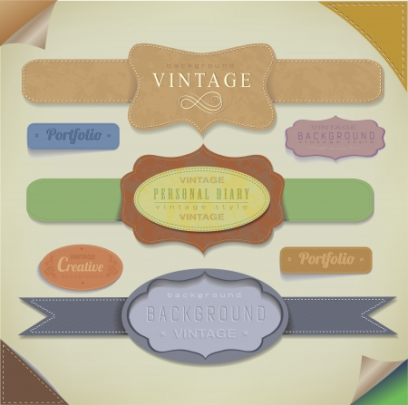 scrap trade: set retro vintage ribbons and label  vector collection