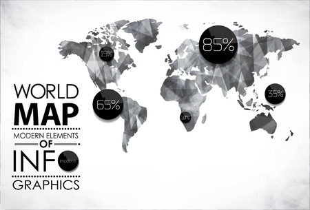Modern elements of info graphics  World Map   Information Graphics abstract modern bubble