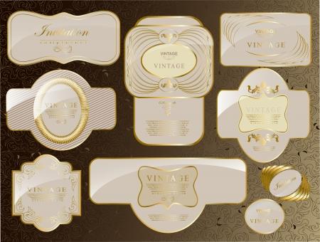 Retro vector gold framed label  Premium design elements  Old style frame