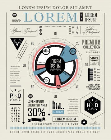 Retro infographic, typography set  World Map and Information Vector