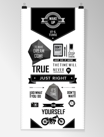 hipsters: Modern black Quote infographic  Background, typography