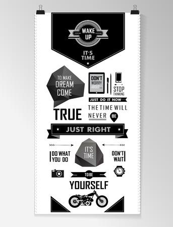 elementi: Moderna nero Citazione infografica sfondo, tipografia Vettoriali