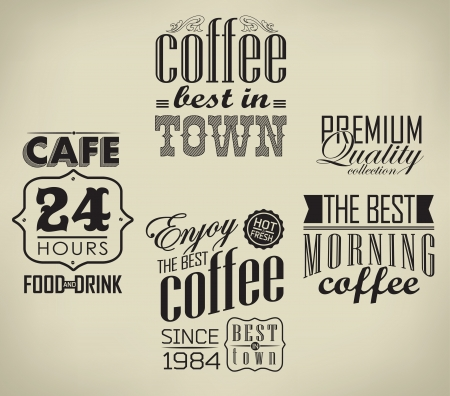 baked beans: set of coffee , cafe label Set of typographic element