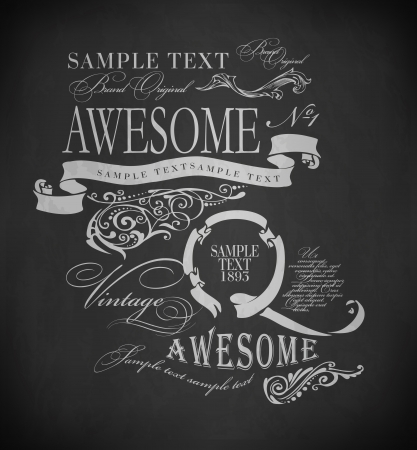 Chalk  typography, calligraphic design elements, page decoration and labels of drawing with chalk on blackboard