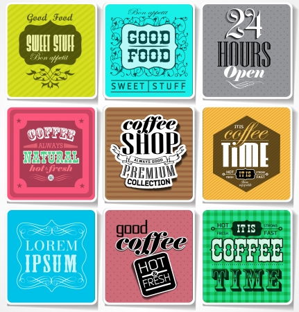 Vintage colored bakery labels and typography, coffee shop, cafe, menu design elements, calligraphic  vector card Vector