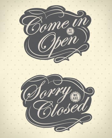stiker: Closed Vintage retro signs  typography design Illustration