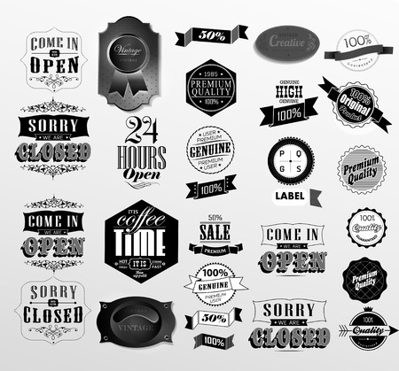 Retro  label collection  different style label, stamp, ribbon  Premium Quality Guarantee vintage styled signs set Vector