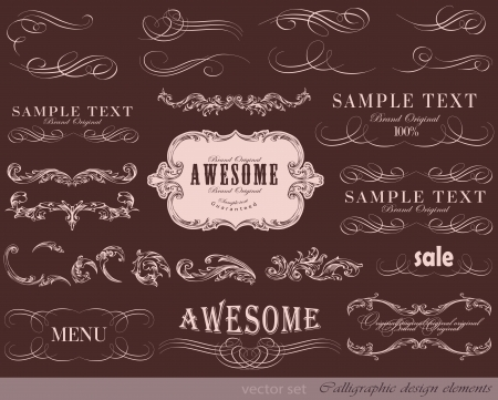 page decoration: vector set: calligraphic design elements and page decoration, Premium Quality and Satisfaction Guarantee Label