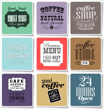 Retro colored bakery labels and typography, coffee shop, cafe, menu design elements, calligraphic vector illustration Vector