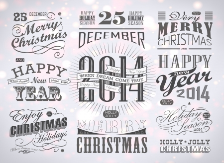 Christmas and Happy New Year typography, labels,calligraphic elements. Christmas decoration Vector