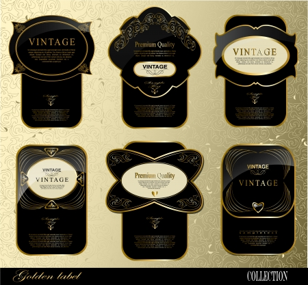 Retro black gold labelcan be used for invitation, congratulation or website layout vector Vector