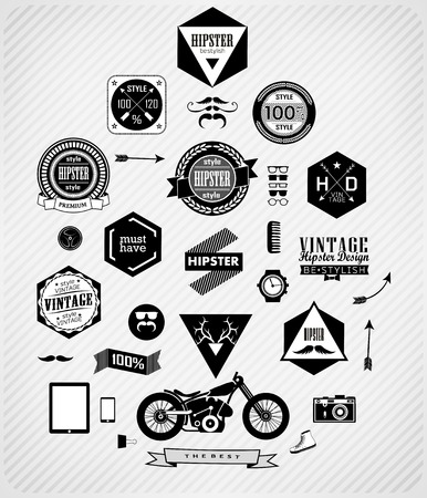 Hipster style , icons and labels can be used for  retro vintage  website, info-graphics