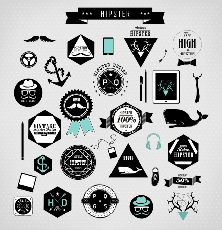 Hipster style elements, icons and labels can be used for  retro vintage  website, info-graphic Vector