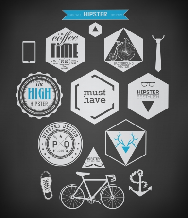 Hipster style elements, icons and labels can be used for  retro vintage  website, info-graphics, banner drawing with chalk on blackboard Vector