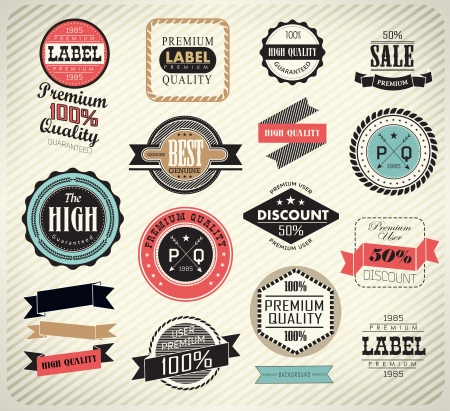 quality assurance: Premium Quality, Guarantee and sale Labels  and typography design