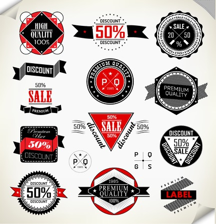 Premium Quality, Guarantee and sale Labels typography design with retro vintage styled design Vector
