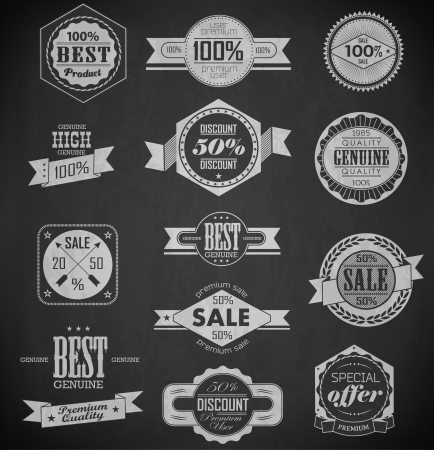 Premium Quality, Guarantee and sale Labels  and typography design drawing with chalk on blackboard with retro vintage styled design Vector