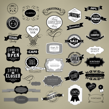 Retro Vintage labels collection different style label, stamp, ribbon Vector