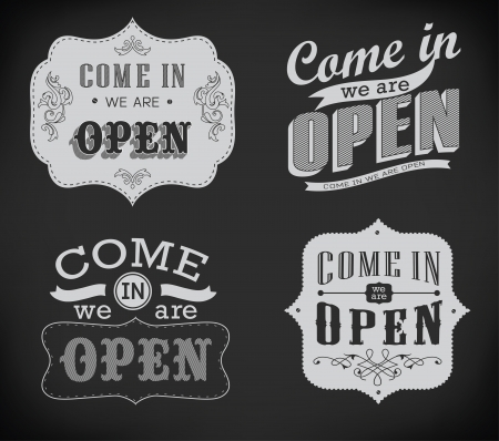 stiker: Closed Vintage retro signs typography design drawing with chalk on blackboard