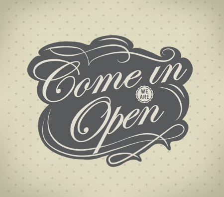 facia: Open  Vintage retro signs typography design drawing with chalk on blackboard