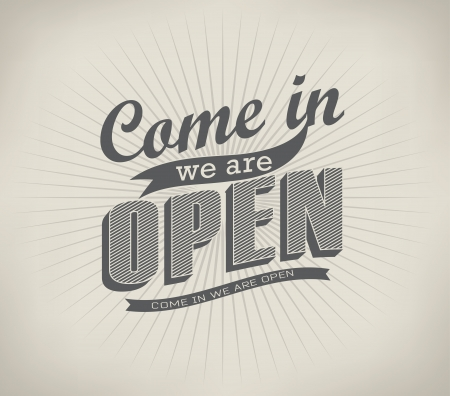 stiker: Open  Vintage retro signs typography design drawing with chalk on blackboard