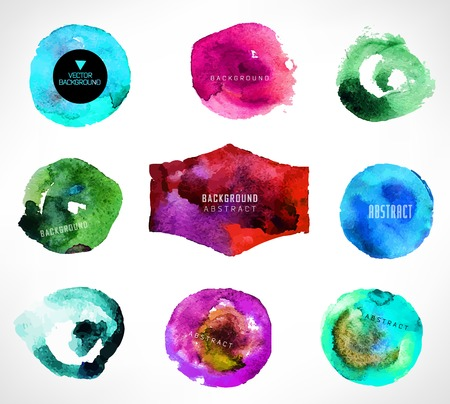 Set of watercolor label, bubble, background vector illustration. Vector