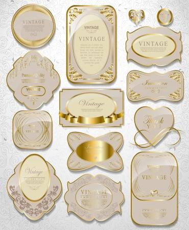 Retro vector gold framed label. Premium design elements Old style frame
