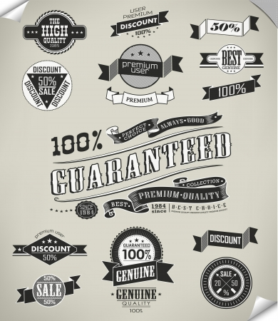 Premium Quality, Guarantee and sale Labels  and typography design