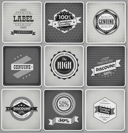 Premium Quality, Guarantee and sale Labels  and typography design drawing with chalk on blackboard Vector