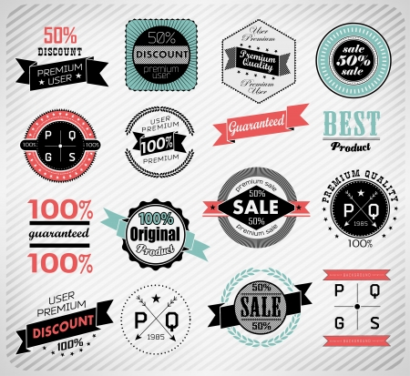 Premium Quality, Guarantee and sale Labels typography design Vintage label Vector