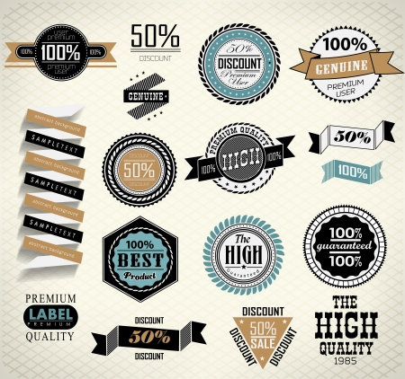 Vintage labels set Quality and guaranteed Vector