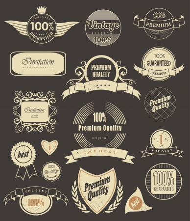 Set of retro vintage labels  and  ribbons. Vector illustration. Vector