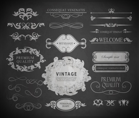calligraphic design elements, page decoration and labels of drawing with chalk on blackboard