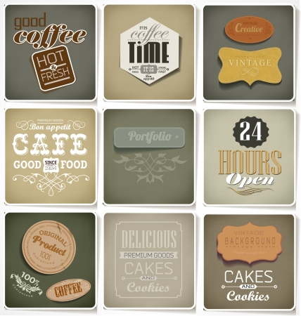 Retro bakery label, coffee shop, cafe, menu design elements, calligraphic  Retro floral ornament Vector