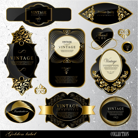 Retro black gold label  Vector