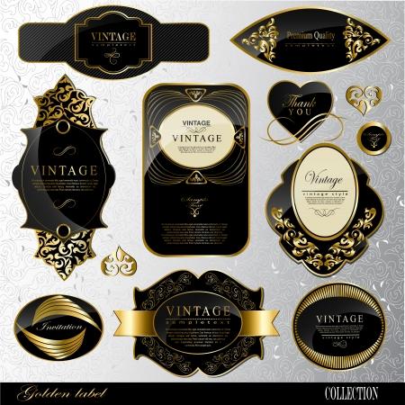 Retro black gold label Reklamní fotografie - 23748877