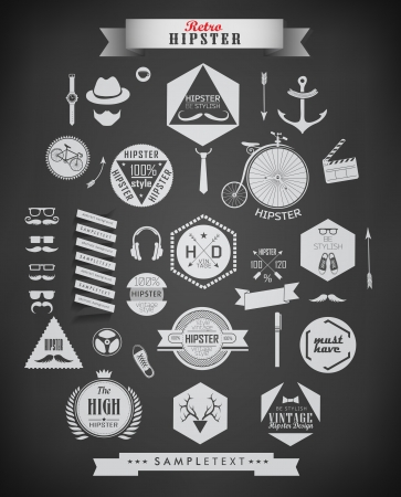 anchor man: Hipster icons and labels  for  retro vintage  website, info-graphic Illustration
