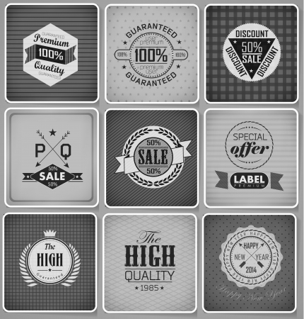 Premium, Guarantee and sale Labels Vector