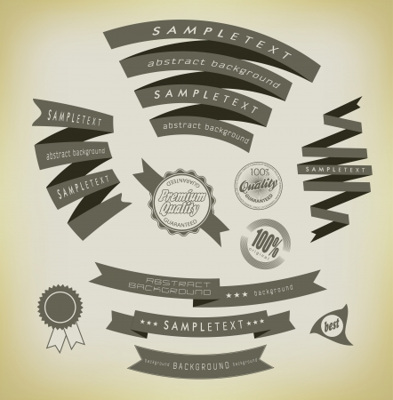 scrap trade: set retro ribbons and label vector collection
