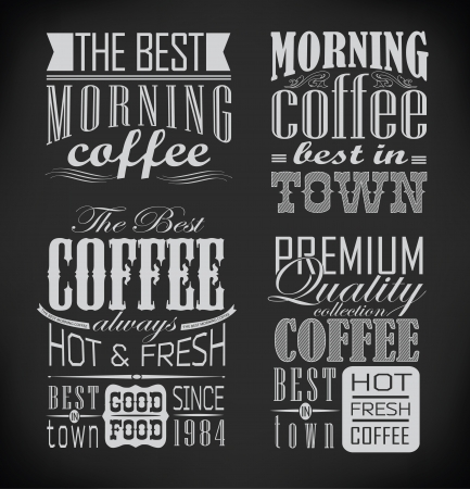 baked beans: set of coffee, cafe labelSet of typographic elements illustration